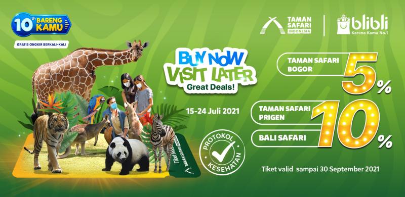 Promo Taman Safari Indonesia di Blibli 10th Anniversary